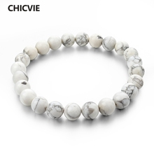 CHICVIE Natural Stone Strand Bracelets With Stones Casual Men Jewelry White Beads Bracelets Bangles for Women