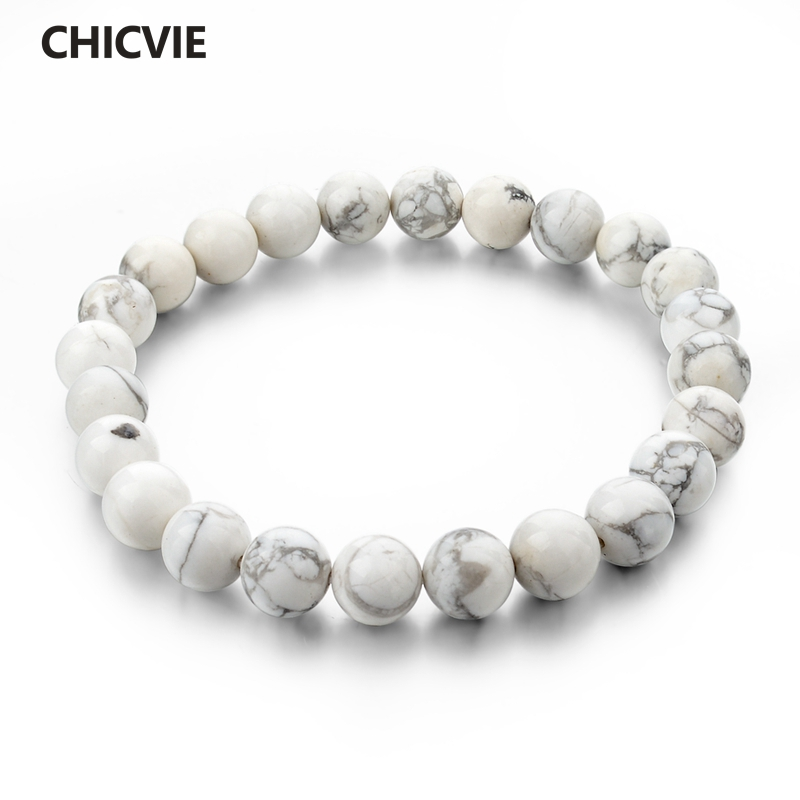CHICVIE Natural Stone Strand Bracelets With Stones Casual s