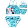 Ropa Niños Summer Set Anna Elsa traje de Baño Para Niñas Rosa Azul de Dibujos Animados traje de Baño Ropa de Playa 2 unids Bikini Atado Chaleco + escritos
