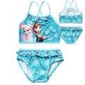 Verão Conjunto de Roupas Crianças Dos Desenhos Animados Anna Elsa Swimwear Para Meninas Azul Rosa Maiô Beachwear 2 pcs Biquíni Amarrado Vest + cuecas