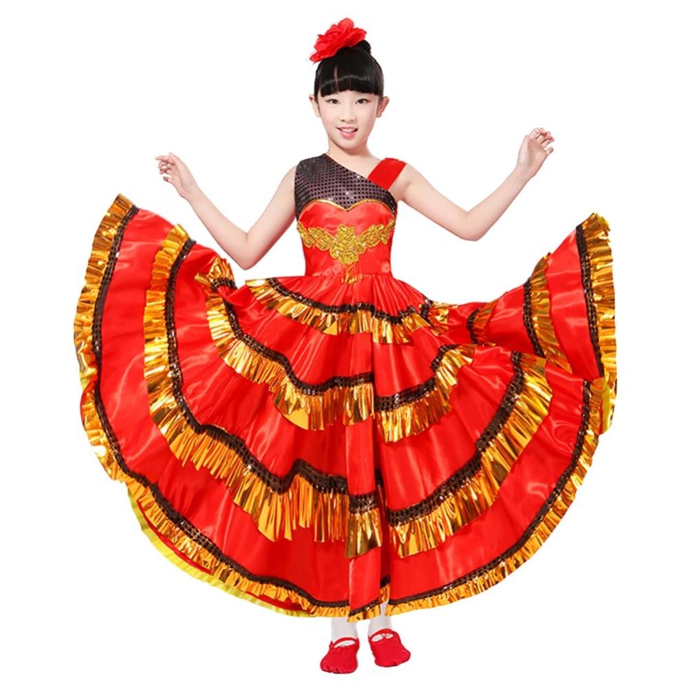 Kids Girls Red Belly Dance Dress Spanish Flamenco Costume Ballroom Tribal Dress Match Head Flower new design top grade high quality a belly dance suit belly dance costume belly dance wear bra belt skirt della 6007