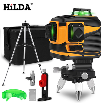 HILDA 12 Lines Laser Level 3D Self-Leveling 360 Horizontal And Vertical Cross Super Powerful Green Laser Beam Line borbede laser level self leveling 2 red horizontal and vertical laser cross lines super mini pocket size