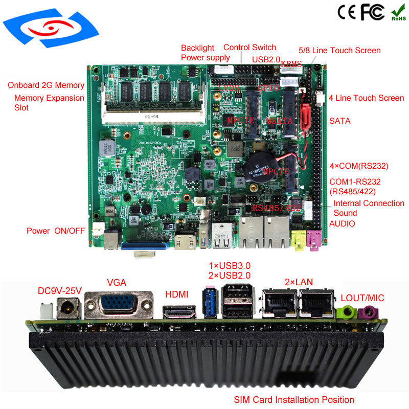 Embedded motherboard High Performance Fanless Intel J1900 Quad Core Processor LVDS Mini ITX Motherboard For Industrial PC