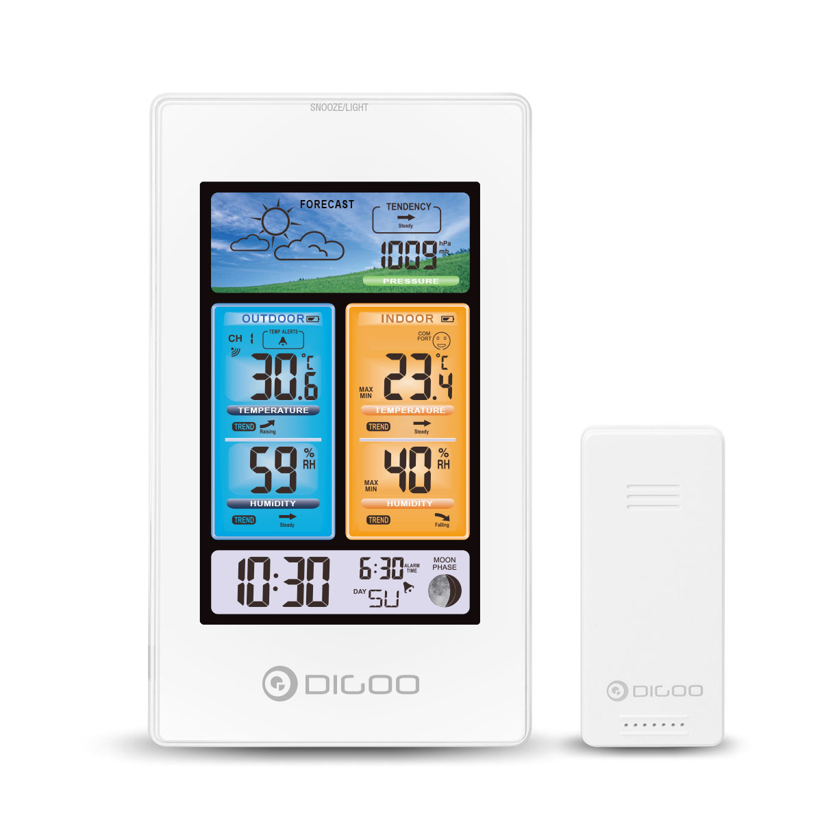 DIGOO DG-EX003 Vertical Color Screen Weather Station Temperature Humidity Outdoor Sensor Thermometer Hygrometer for Smart Home