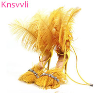 Knsvvli Crystal Feather Sandals for women Ostrich hair decor Thin high heels dance Shoes ladies Fur sandals T Show Party Shoes