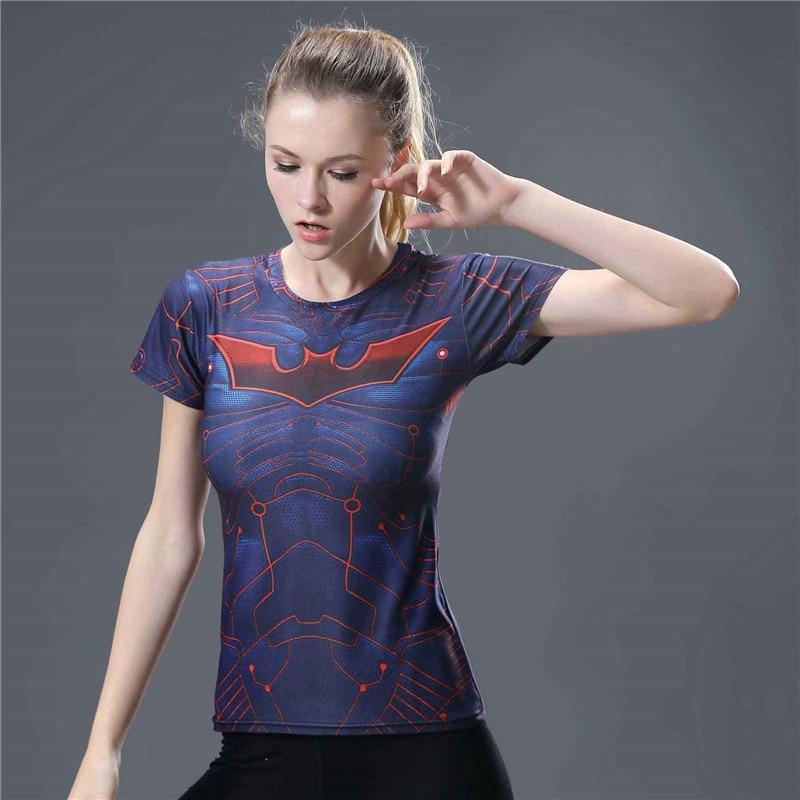 15  3D Print Batman Fitness Tight T Shirt Women Tops Short Sleeve Summer Top Compression Shirt Fashion Slim Fit Tee Shirt Femme