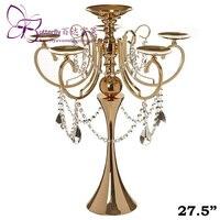 27 см золото металл канделябры люстра свадьбы центральным с акриловые цепи и большой слезы