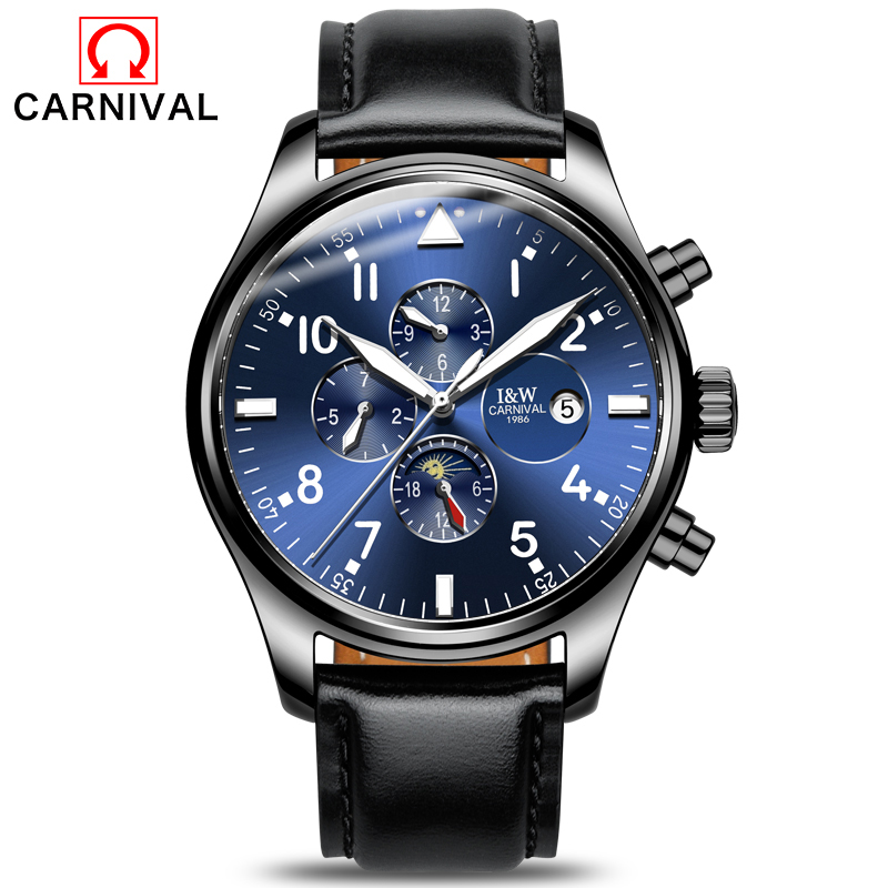Carnaval nouveauté montre automatique hommes noir de luxe Sport montres mécaniques hommes horloge militaire étanche montre-bracelet relogio