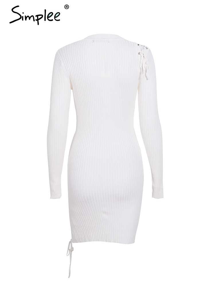 Осенне-зимнее женское платье Simplee, элегантный облегающий кружевной джемпер с разрезом, винтажный пуловер, трикотажное платье-свитер
