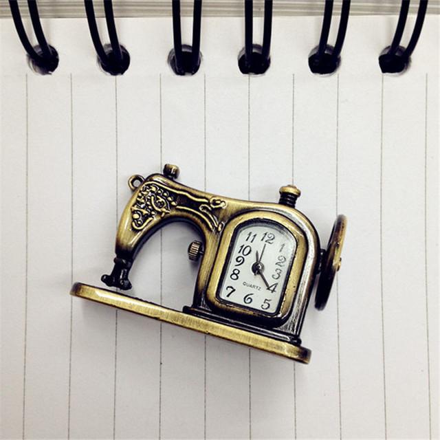 Retro Antique, Bronze Alloy, Classic Sewing Machines Pendant, Pocket Watch