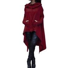 Европа Большой Размеры женские Длинный свитшот женщины нерегулярные кашемир Толстовки Мода turtlenck толстовки