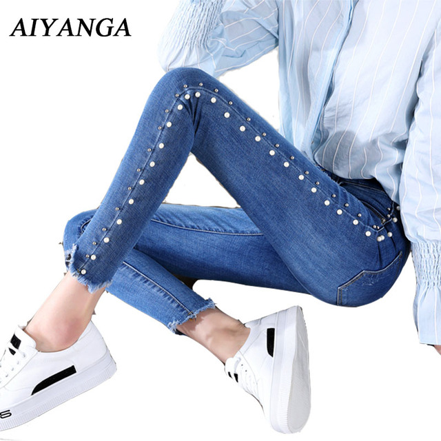 Fashion Beading Jeans Women Spring 2018 Ladies Elasticity Pencil Pants Denim Ankle-Length Trousers High Waist Jeans For Woman