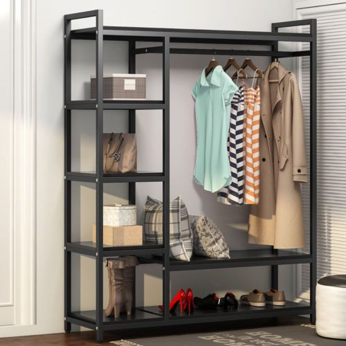 Free Standing Closet Organizer Heavy Duty 6 Shelves Storage Rack
