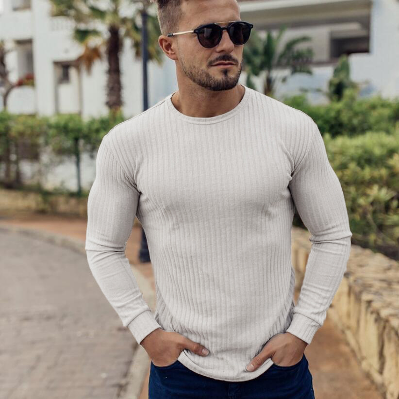 Muscleguys 2019 Fashion Sweater Men Long Sleeve Pullovers Outwear Man O-Neck Sweaters Tops Solid Slim Fit Knitting Clothing