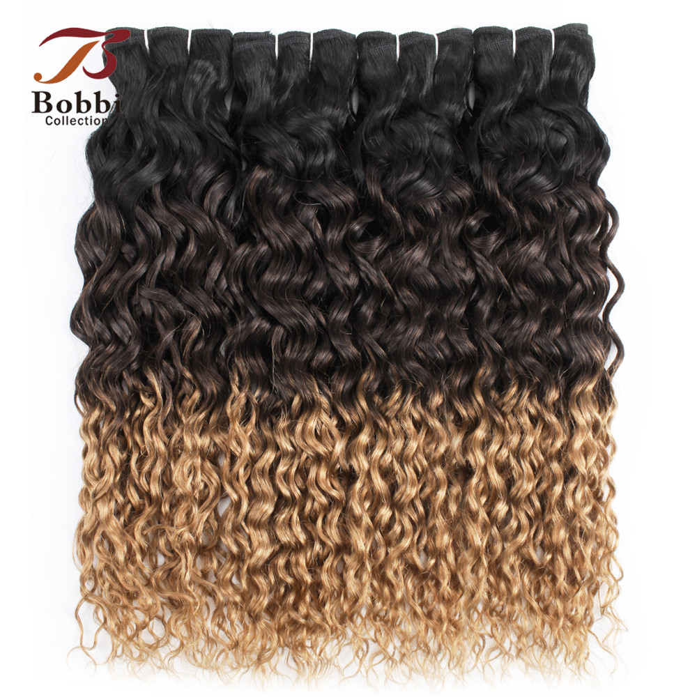 Bobbi Collection 3/4 Bundle Deals Water Wave Hair T 1B 4 27 Ombre Hair Weave Dark Root Honey Blonde Indian Remy Human Hair