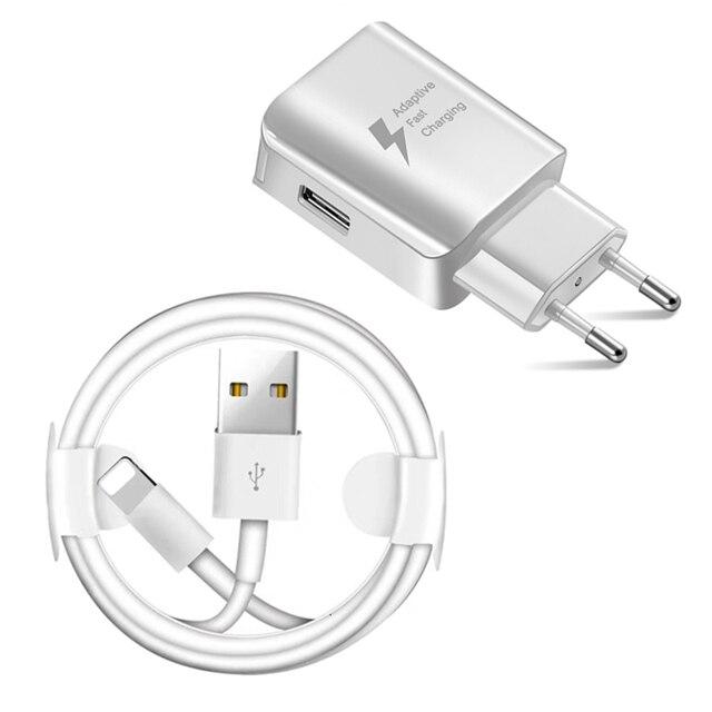 Комплект USB кабель + USB быстрое зарядное устройство для iPhone 7 8 Plus X XR XS Max 5s 6 S длина 1 м usb кабель для зарядки ЕС-разъем, для поездок настенное зарядное устройство
