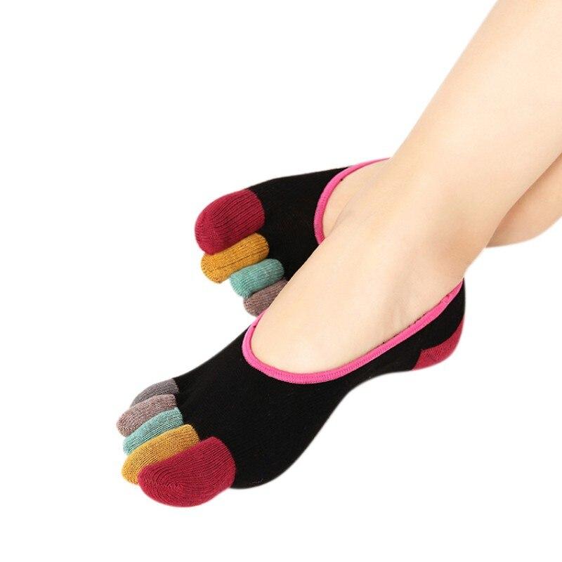Vrouwen Katoenen Teen Sokken Zomer Vrouwelijke Antislip Patchwork Vijf Vinger Kousen Boot Sokken Onzichtbare Low Cut Ademend Slippers