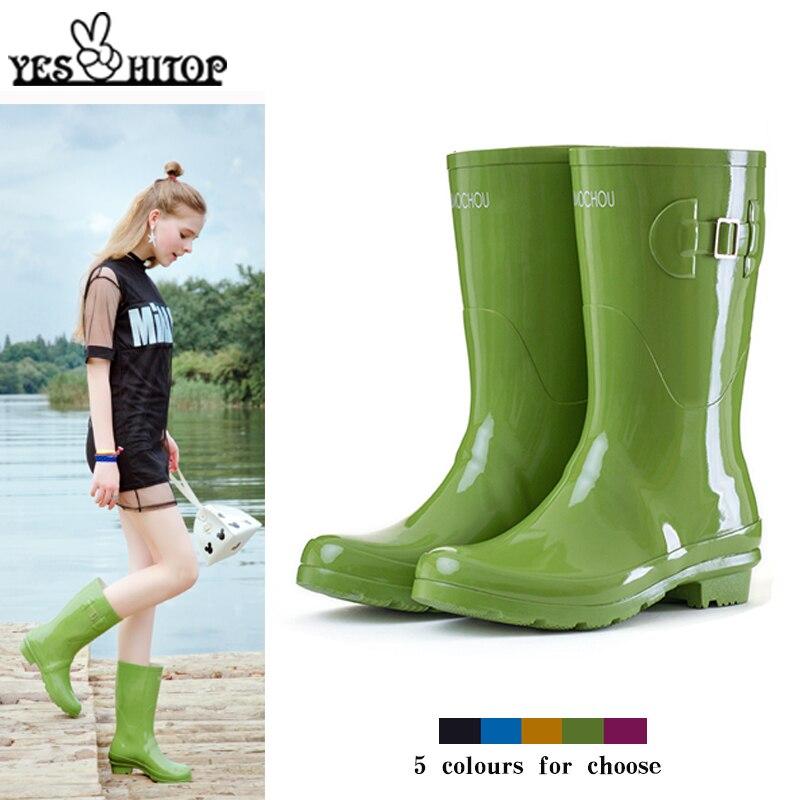 2019 Black Yellow Blue Purple Mild Calf Ladies Rubber Rainboots Rain Boots Women Waterproof 2018 Botas De Lluvia Para Mujer Agua Mujer From