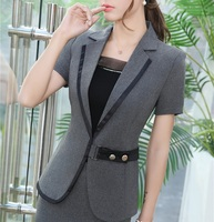 Slim Fashion Summer Short Sleeve Jackets Blazers For Business Women Ladies Office Outwear Professional Tops Blazer