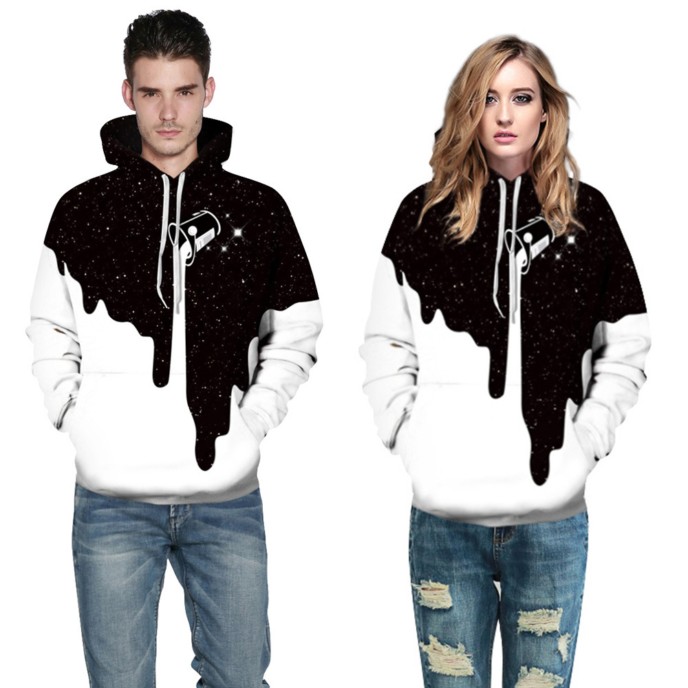 2017 Fashion Autumn Spring Winter Plus Size 3D Hoodies Sweatshirts Men/Women Hooded Homme Muscle White Black Milk Funny Hoodies
