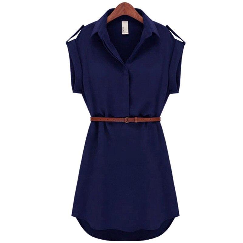 Buy Cheap 2017 Fashion Women's Short Sleeve Stretch Chiffon Casual OL Belt Mini Dress blusas mujer Vestidos