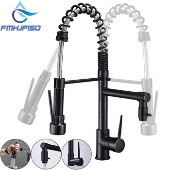 Promotion Dual Spout Spring Pull Down Kitchen Sink Faucet 360 Degree Rotate Hot and Cold Water Taps