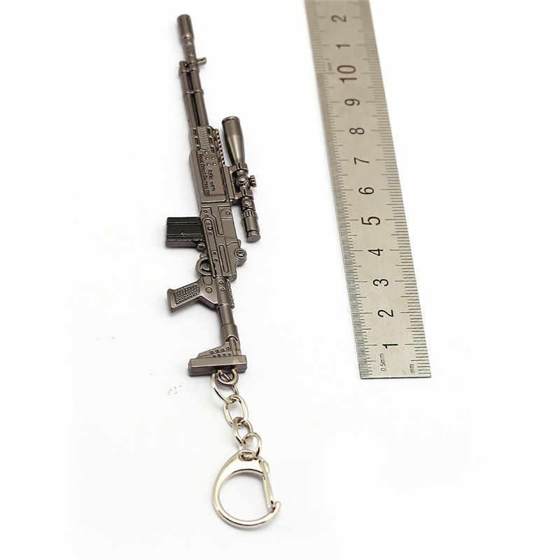 เกม PUBG 12 เซนติเมตรพวงกุญแจ 16 M4A1 AK47 ปืนพวงกุญแจโลหะพวงกุญแจของที่ระลึกสำหรับชายของขวัญ Porte Clef chaveiro llavero HF12795