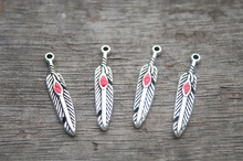 35pcs Feather charms, AntiqueTibetan silver Feather Charm Pendant 27x6mm RED(China)