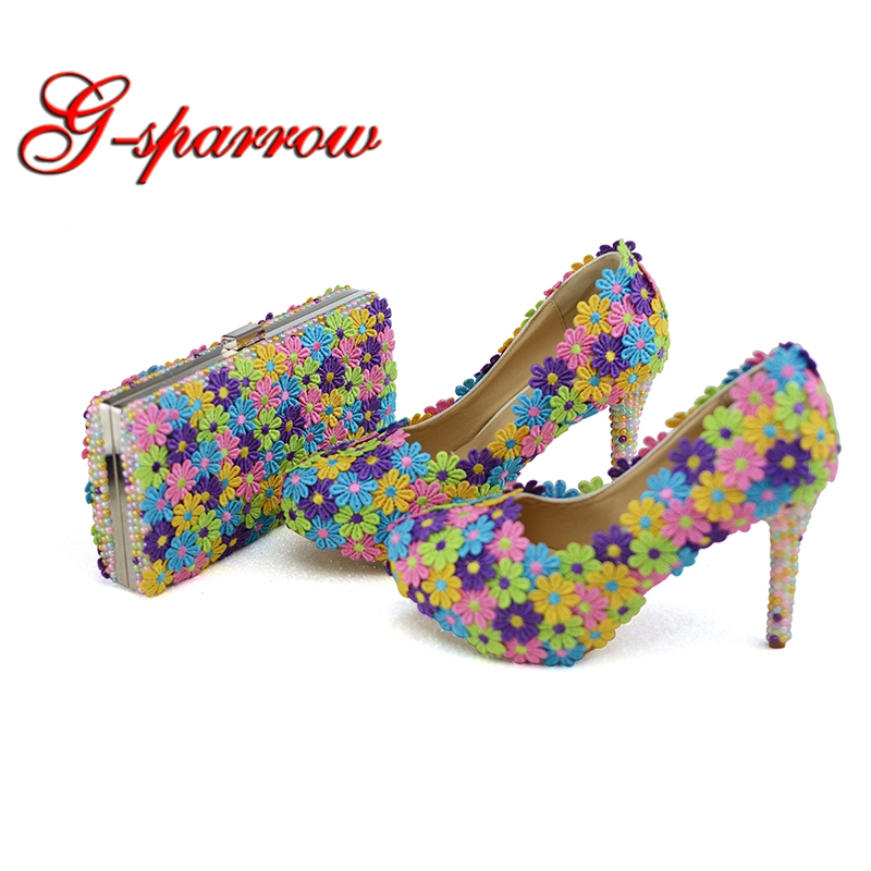 836a2be712e 2018 Colorful Lace Flower Wedding Party Prom Shoes with Clutch Pearl High Heel  Banquet Pumps Handmade