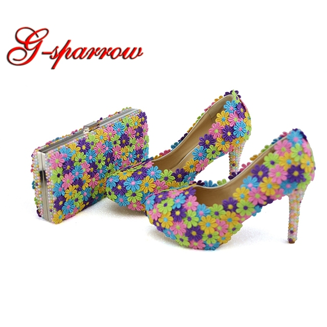 2018 Colorful Lace Flower Wedding Party Prom Shoes with Clutch Pearl High Heel Banquet Pumps Handmade Women Shoes Matching Bag