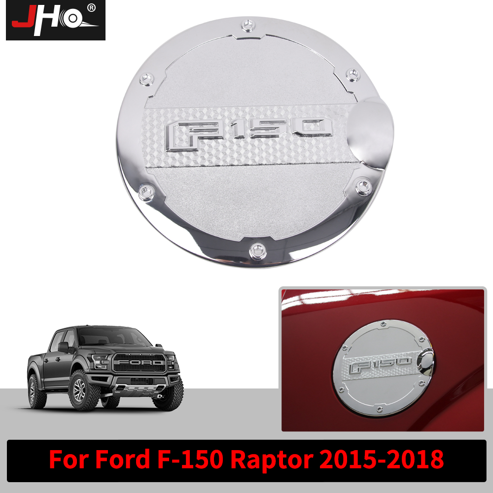 JHO ABS Chrome Fuel Gas Fuel Oil Tank Cover Trim Overlay Cap For 2015 2016 2017 18 Ford F-150 Raptor Pickup Styling Accessories racing mugen aluminium oil cap fuel tank cap cover for honda
