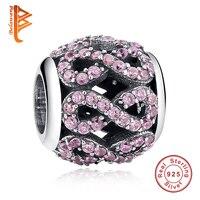 BELAWANG 100% 925 Sterling Silver Bạc Pha Lê Rhinestone Hình 8 Infinity Nối Charm đối với Phụ Nữ Fit DIY Bracelet Trang Sức Làm