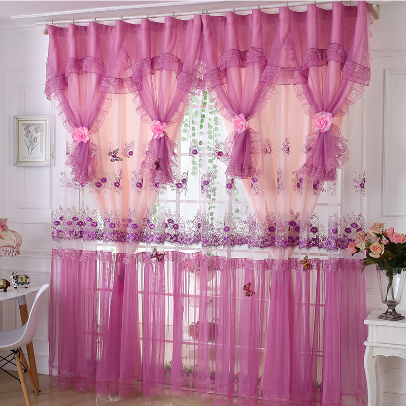 Senisaihon Korean Princess Lace Blackout Curtains Princess Bedroom Tulle Curtains Wedding Purple Voile Curtains for Living