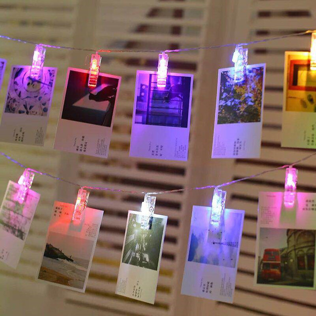 Junjue Photo Creative Clip String Lights Led Flash Room Decoration Wall Decorative Light