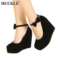 2016 HOT Sexy Women Fashion Buckle Ladies Shoes Wedges High Heels Platform Black Bow Pumps Tenis