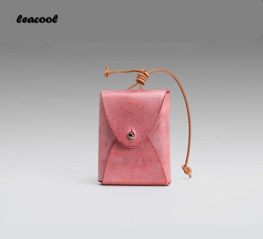 LEACOOL 2018 Handmade 100% Genuine Leather Mini Coin Purse Women Small Coin Bags Slim Wallet Creative Designer Cowhide Storage