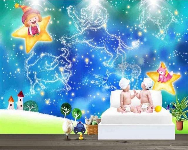 Beibehang fondo de pantalla personalizado azul for Sala de estar para ninos