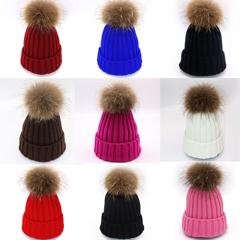 Arherigele Fur Ball Cap Pom Poms Winter Hat for Women Girl 's Hat Knitted   Beanies   Cap Thick Female Cap Women's   Skullies     Beanies