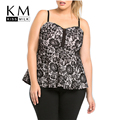 Kissmilk Plus Size Women New Fashion Black Lace Tank Big Large Size Spaghetti Strap Slim Frill Tank 3XL-6XL