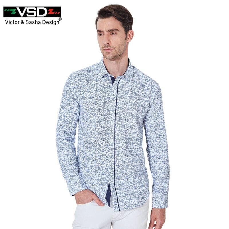 VSD 2017 Nuovo Stampato Floreale Camicie Casual Maschile Classico Dress Shirt Manica Lunga da Uomo di Modo di Marca Primavera Autunno Abbigliamento VS577