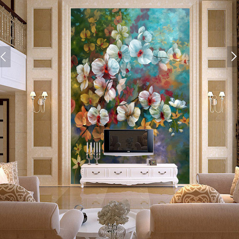 Large papel mural 3d wall Flower mural Wallpaper for living room 3d photo wall mural butterfly orchid Murals home decor dsu new butterfly flower fairy wall sticker kids room bedroom removable decor art home mural