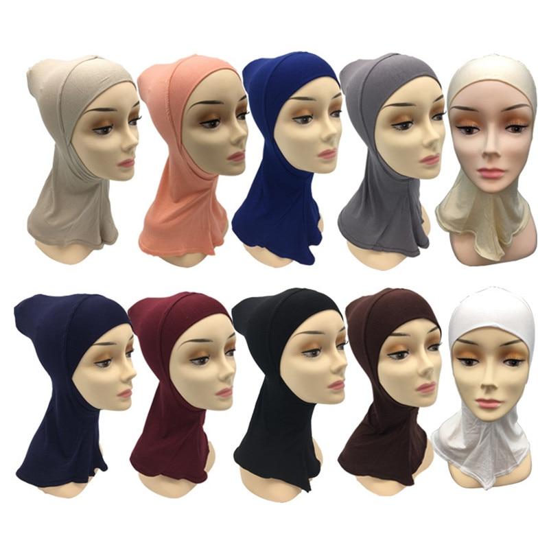 2019 Muslim Full Cover Inner Hijab Cap Islamic Underscarf Soft Cotton Neck Head Bonnet Hat Under Scarf Ninja Hijab Niqab