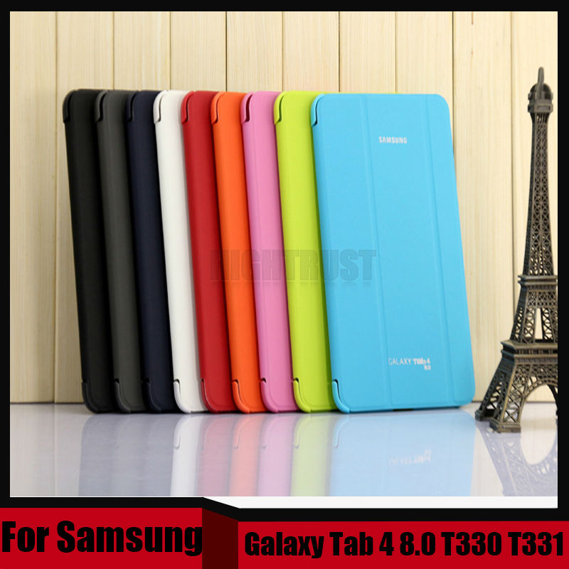 3 in 1 Business Folding Flip Slim Pu Leather Case Cover For Samsung Galaxy Tab 4 8.0 T330 T331 T335 + Screen Film + Stylus
