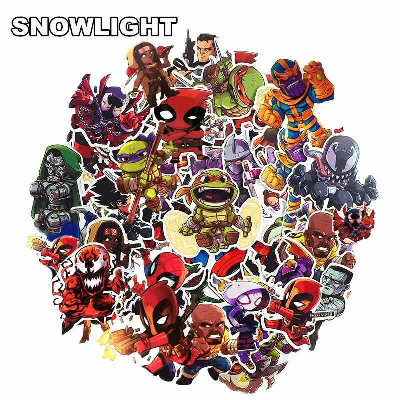 50Pcs Marvel Cartoon Sticker Waterproof For Laptop Moto Skateboard Luggage Guitar Furnitur Decal Toy Stickers