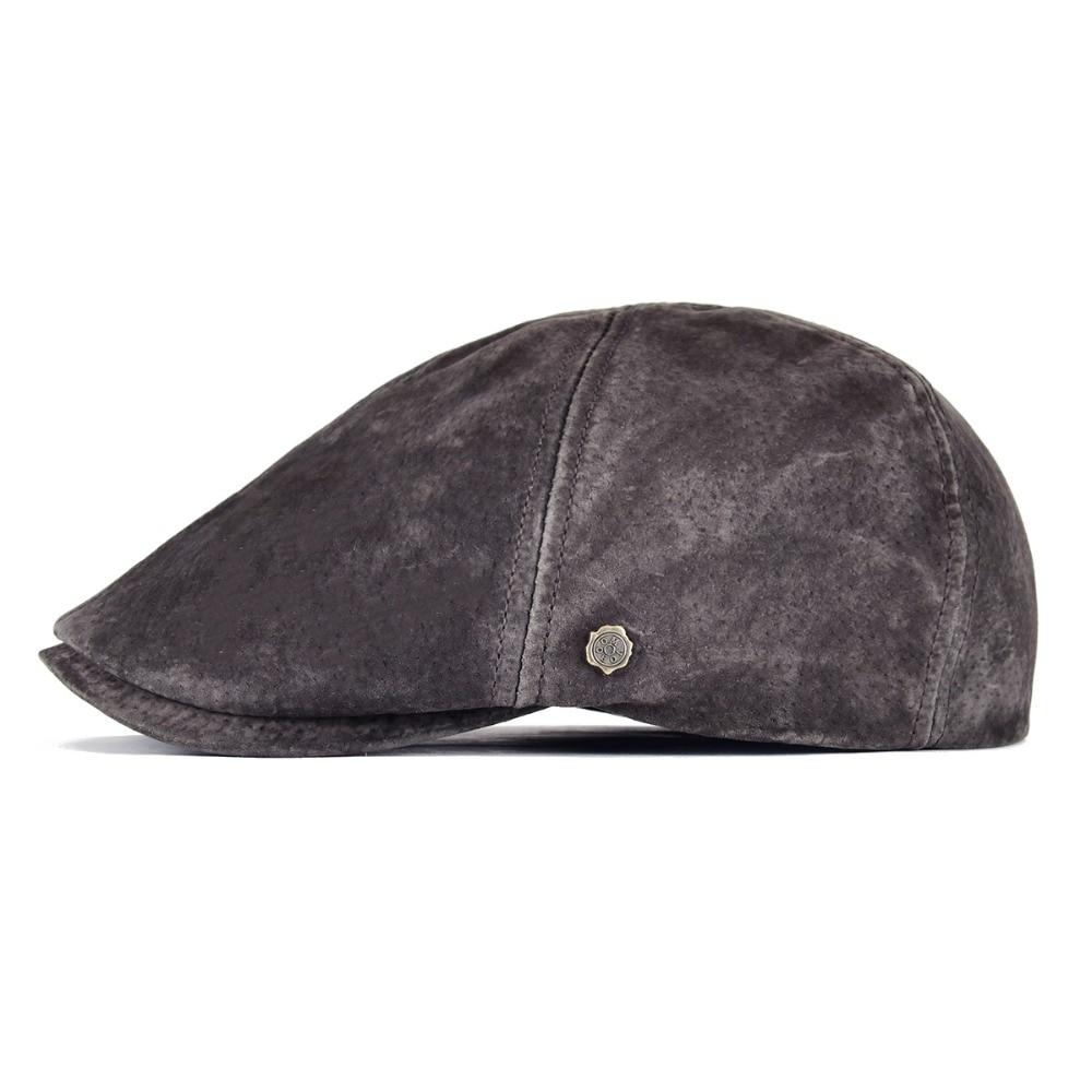 e5cd30b5444f6 Voboom Cuero auténtico Boinas hombres mujeres real auténtico cerdo Frosted  sentir transpirable 8 panel sombreros para el otoño invierno 152USD  29.99 piece