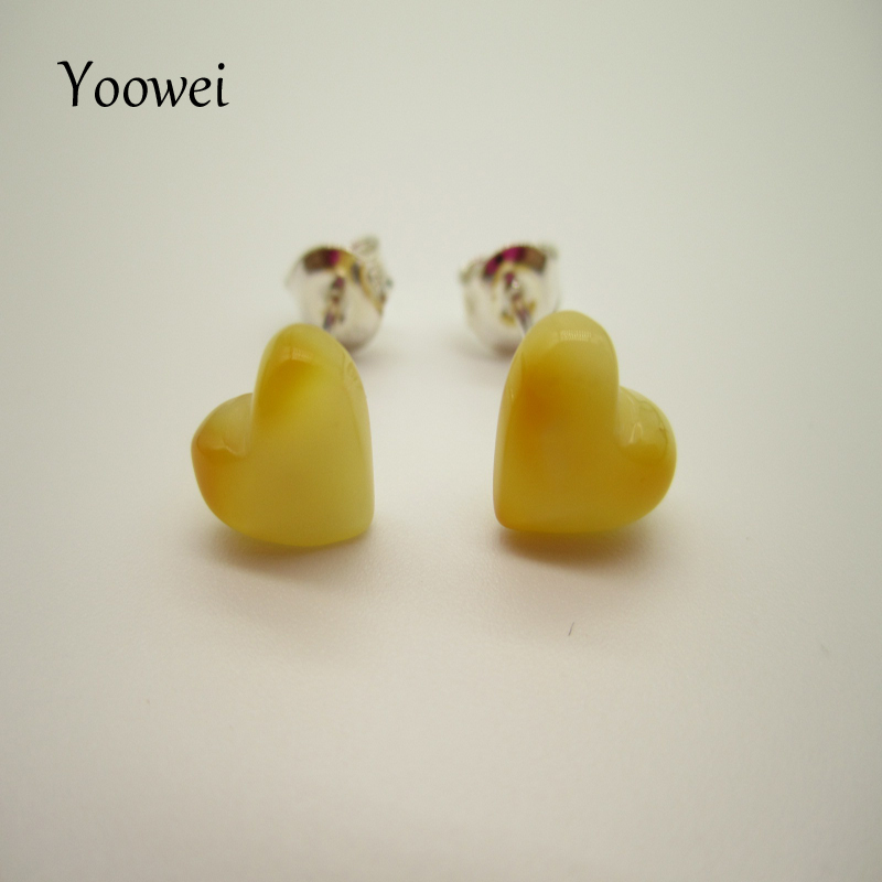 Yoowei Baltic Amber Earrings for Women Girl Gift Natural Beads Honey Heart Earrings S925 Silver Elegant Ladies Love Stud Earring tl love heart earrings for women stainless steel silver hot earrings simple design open cross earrings