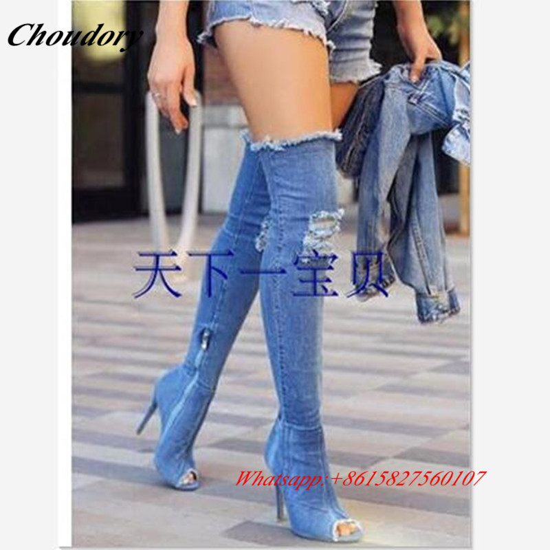 As Sexy as Sommer High Schuhe Die Frau Blau Peep Über Knie Hohe Pic Stiefel Denim Toe Heels Hot Frühling Qualität Super 2019 Pic xZHw41t