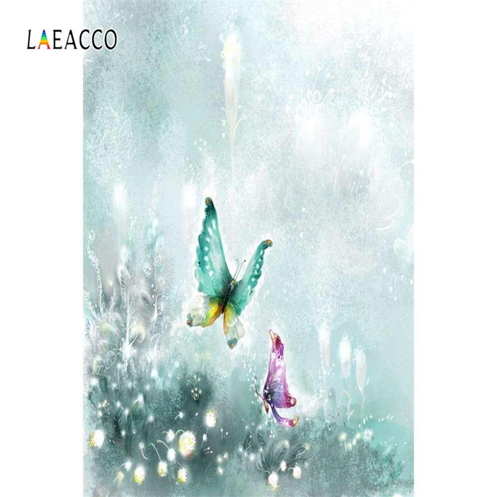 Laeacco Painting Backdrop Butterfly Baby Portrait Photography Backgrounds Customized Photographic Backdrops For Photo Studio