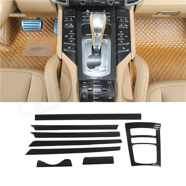8 Pcs / Set Add On With Double Sided Tape For Porsche Cayenne 958 Carbon Fiber Interiors Trim Cover 2011 - UP
