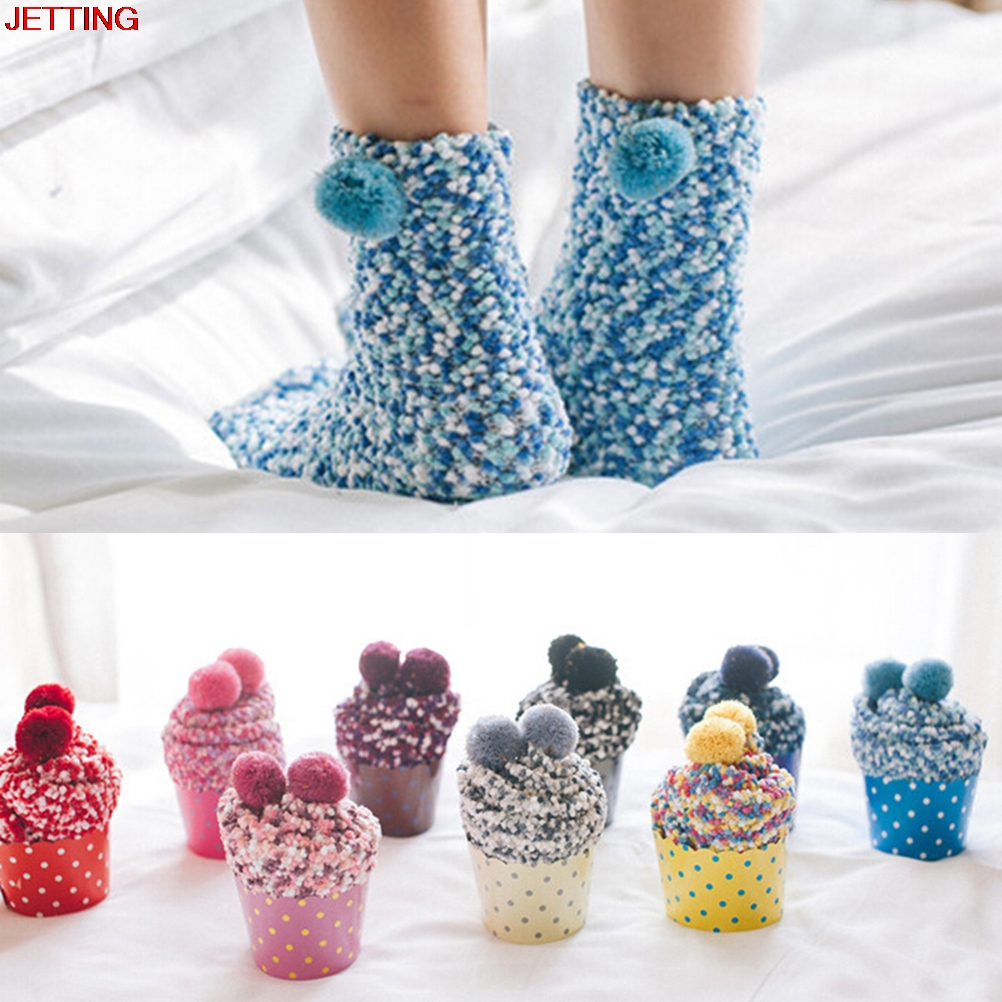 JETTING-1 pair Women Girls Bed   Socks   Fluffy Warm Winter Kids Gift Soft Floor Home clothing Female Thickening Velvet Winter   Socks